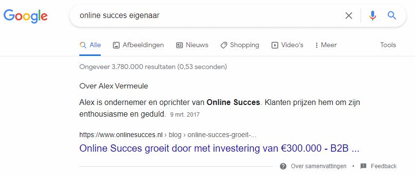 Online Succes eigenaar Alex Vermeule